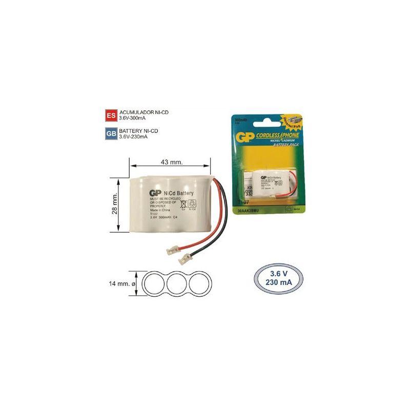 Battery Phone Inal 225 Mbrico T107 3 6 V 300mah Cordless